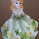 VINTAGE RELPO CHARMING DAISY GIRL IN A GREEN DRESS PORCELAIN PLANTER JAPAN