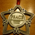 COLLECTIBLE PEWTER STAR ORNAMENT MEDAL GRACE AND PIECE BY WORLD VISION 3""