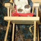 VINTAGE CHRISTMAS ORNAMENT TEDDY BEAR IN A ROCKING CHAIR GERMANY