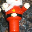 VINTAGE CHRISTMAS WOODEN ORNAMENT FROM GERMANY HANDPAINTED SANTA