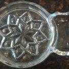 VINTAGE CUT PRESSED GLASS COASTERS INDIVIDUAL CONDIMENT SERVERS ASHTRAY SET OF 3