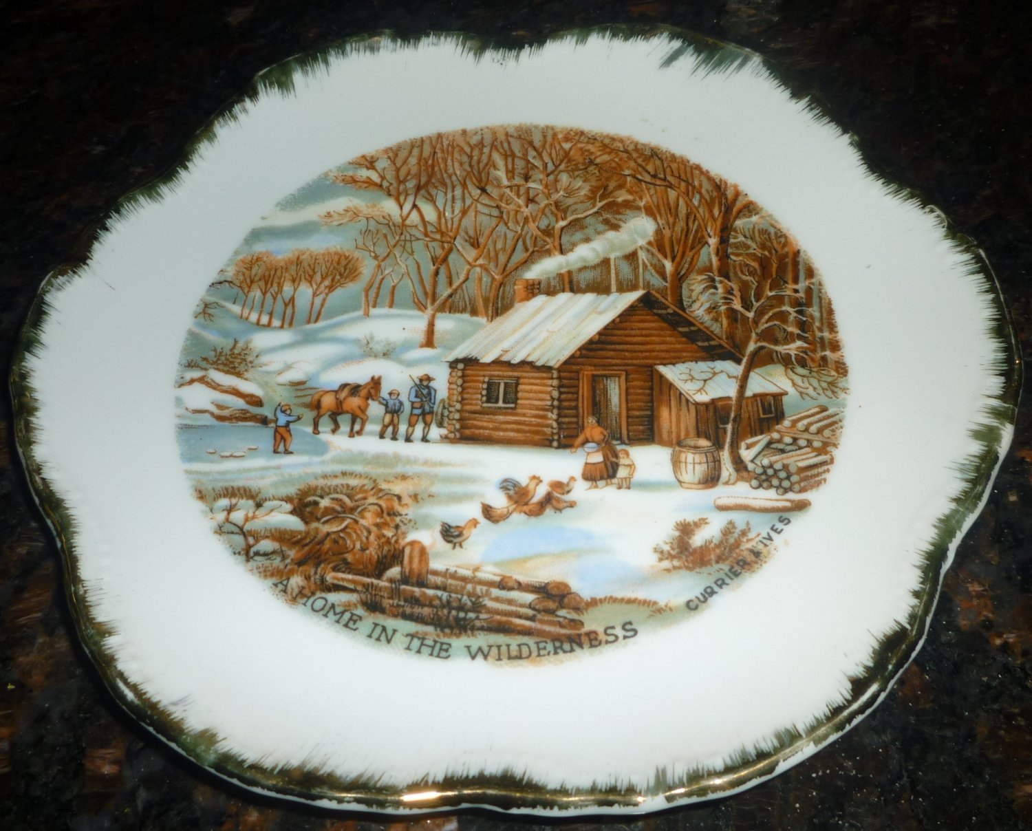VINTAGE CURRIER & IVES HOME IN WILDERNESS PLATE GOLD SPIKED TRIM LUGENE'S JAPAN