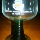 1990 COMMEMORATIVE GERMANY DEFEND PROTECT RIBBED STEM GREEN WINE GLASS SET OF 2