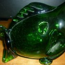 VINTAGE MURANO GLASS GREEN GLASS HANDBLOWN FISH FIGURINE VASE ASHTRAY ART GLASS