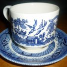 CHURCHILL SMALL CUP & SAUCER SET BLUE WILLOW ENGLAND BLUEWARE