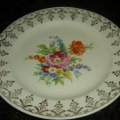 VINTAGE EDWIN M. KNOWLES SET OF 2 BREAD DESERT PLATES FLOWERS 22K GOLD TRIM
