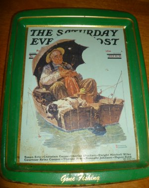VINTAGE TIN TRAY ROCKWELL GONE FISHING COLLECTOR'S SERIES BY DAHER WASH POST