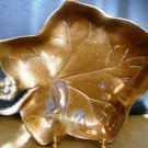 VINTAGE SOLID BRASS GRAPE LEAF DISH BOWL VERY HEAVY