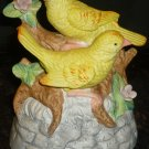 VINTAGE HANDPAINTED BISQUE PORCELAIN MUSIC BOX CANARY BIRD