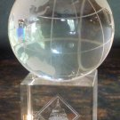 WORLD GLOBE PAPER WEIGHT CRYSTAL GLASS ON A STAND FLOATING Etched Glass APMP