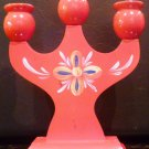 VINTAGE WOOD HANDCARVED AND HANDPAINTED 3 CUP CANDEHOLDER SWEDEN