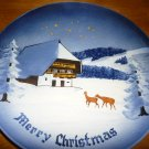 VINTAGE PORCELAIN BLACK FOREST MERRY CHRISTMAS SILENT NIGHT PLATE GERMANY