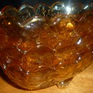 VINTAGE PEACH AMBER IRIDESCENT LUSTERWARE JEANNETTE SET OF 3 DISHES BOWL FOOTED