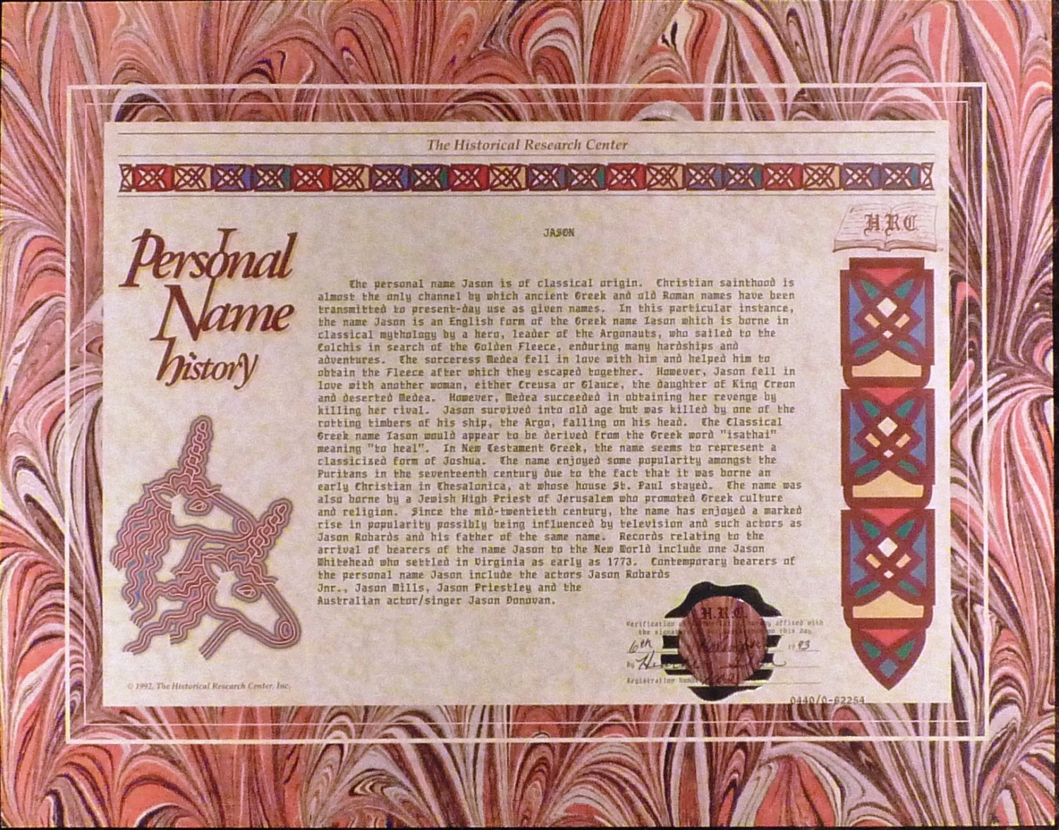 PAPER SCROLL CERTIFIED HISTORICAL RESEARCH PERSONAL NAME HISTORY 'JASON'