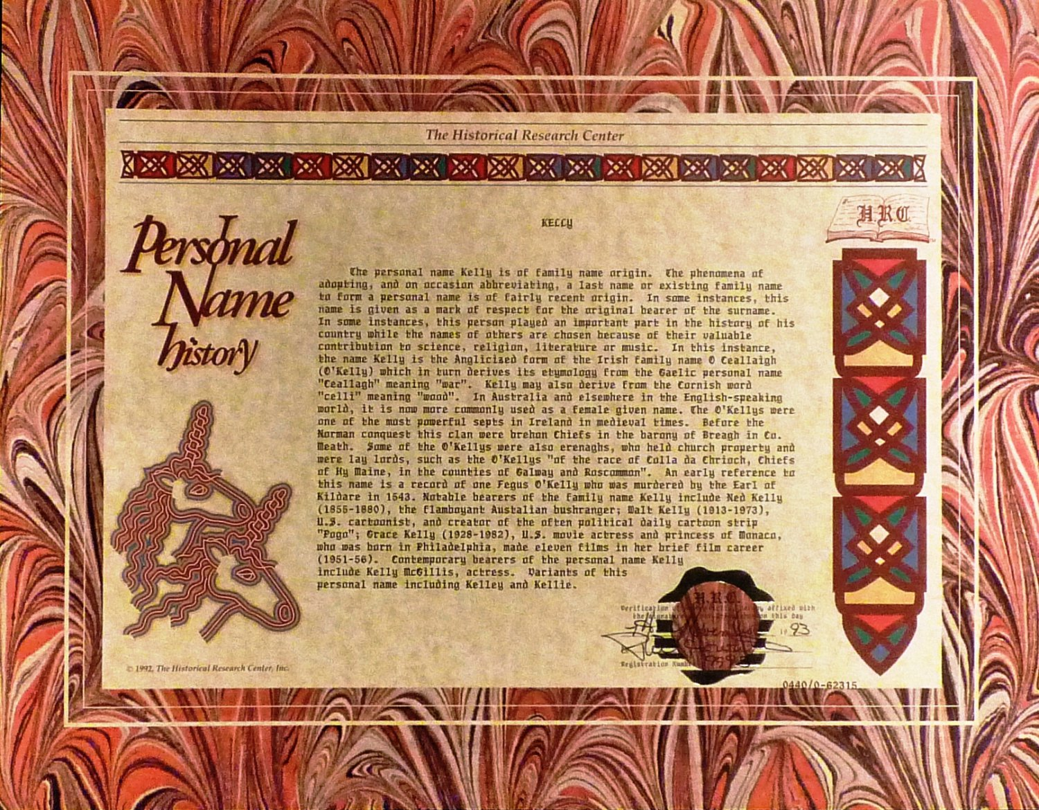 PAPER SCROLL CERTIFIED HISTORICAL RESEARCH PERSONAL NAME HISTORY 'KELLY'