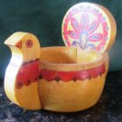 VINTAGE HANDPAINTED HANDCARVED WOODEN BIRD OPEN SALT FROM RUSSIA