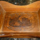 VINTAGE WOOD CARVED BREAD BASKET TRAY WITH HANDLES GIVE US THIS DAY OUR DAILY BR