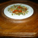 VINTAGE WOOD CERAMIC Cheese & Cracker SERVING PLATTER Goodwood Fruit Design