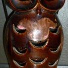 VINTAGE BROWN GLAZED CERAMIC FIGURAL OWL VOTIVE CANDLE HOTLDER LAMP HANDLE JAPAN