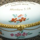 CHARMING PORCELAIN INSPERATIONAL TRINKET BOX FIRST TOOTH RING HOLDER MATTHEW5:16
