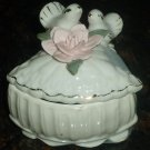 GORGEOUS PORCELAIN JEWELRY RING TRINKET BOX SCULPTURED DOVES & FLOWERS