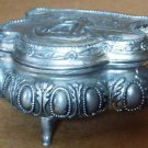 VINTAGE FOOTED PEWTER TRINKET JEWELRY BOX GONDOLA SAILBOATS DESIGN JAPAN