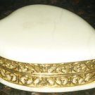 VINTAGE GENUINE IVORY ALABASTER HEART LIDDED TRINKET BOX METAL FILIGREE ITALY