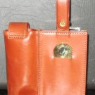 NEW SS FLASK IN A LEATHER CARRIER GOLF TRAVEL COMPANION