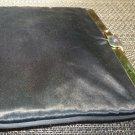 VINTAGE SATIN WOMAN PURSE SET CLUTCH BAG W/CHAIN SHOULDER STRAP W/COIN PURSE