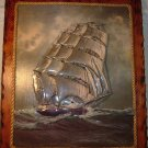 VINTAGE UNIQUE HANDPAINTED PAPER CUT SCULPTURED PICTURE OF A SAILBOAT 3D