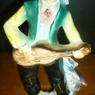 VINTAGE CERAMIC PORCELAIN FIGURINE STATUE GYPSY MAN PIRATE PLAYING GUITAR JAPAN