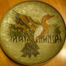 VINTAGE BRASS ENAMEL PLATE WITH  FLYING DUCK BY PENCO INDUSTRIES