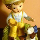 VINTAGE HOMCO BISQUE PORCELAIN FIGURINE - BOY WITH THE DOG