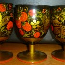 VINTAGE RUSSIAN HOHLOMA WOOD CARVED WINE WATER FOOTED GOBLET SET OF 3