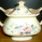 VINTAGE W S GEORGE LIDO CANARYTONE FLORAL CHINA 22K GOLD TRIM LIDDED SUGAR BOWL