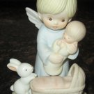 CHARMING BISQUE PORCELAIN ANGEL BABY AND BUNNY FIGURINE JANMYRO COLLECTION