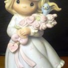 PRECIOUS MOMENTS GIRL FIGURINE FLOWERS HEART LOVING YOU MY HAPPINESS '91 LIMITED