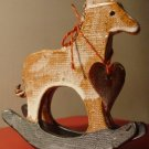 VINTAGE CERAMIC ROCKING HORSE WITH A HEART CHILD ROOM DECOR