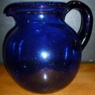 GORGEOUS BUBBLE COBALT GLASS WATER PITCHER VASE DECORATIVE