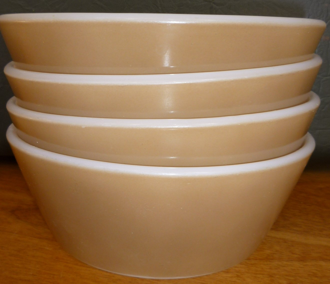 VINTAGE ANCHOR HOCKING FIRE-KING BROWN OVEN WARE BOWL SET OF 4