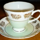 VINTAGE FINE BONE CHINA 4 CUPS & 3 SAUCERS CROWNFORD STAFFORDSHIRE ENGLAND GOLD