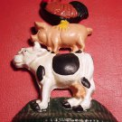 CAST IRON DOORSTOPPER BOOKEND PAPER WEIGHT FARM COW PIG