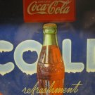 DRINK COCA-COLA Cold Refreshment bottle OVAL TIN TRAY with handles