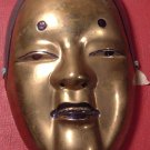 STUNNING BRONZE SOLID BRASS ENAMEL MASK SET OF 2 FACIAL EXPESSION