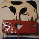 VINTAGE 3 HOOK METAL HANDPAINTED COW 3 HOOK RACK CHABBY CHIC