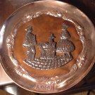 VINTAGE COPPER DECORATIVE COLLECTIBLE PLATE PERU WALL HANGING PLAQUE