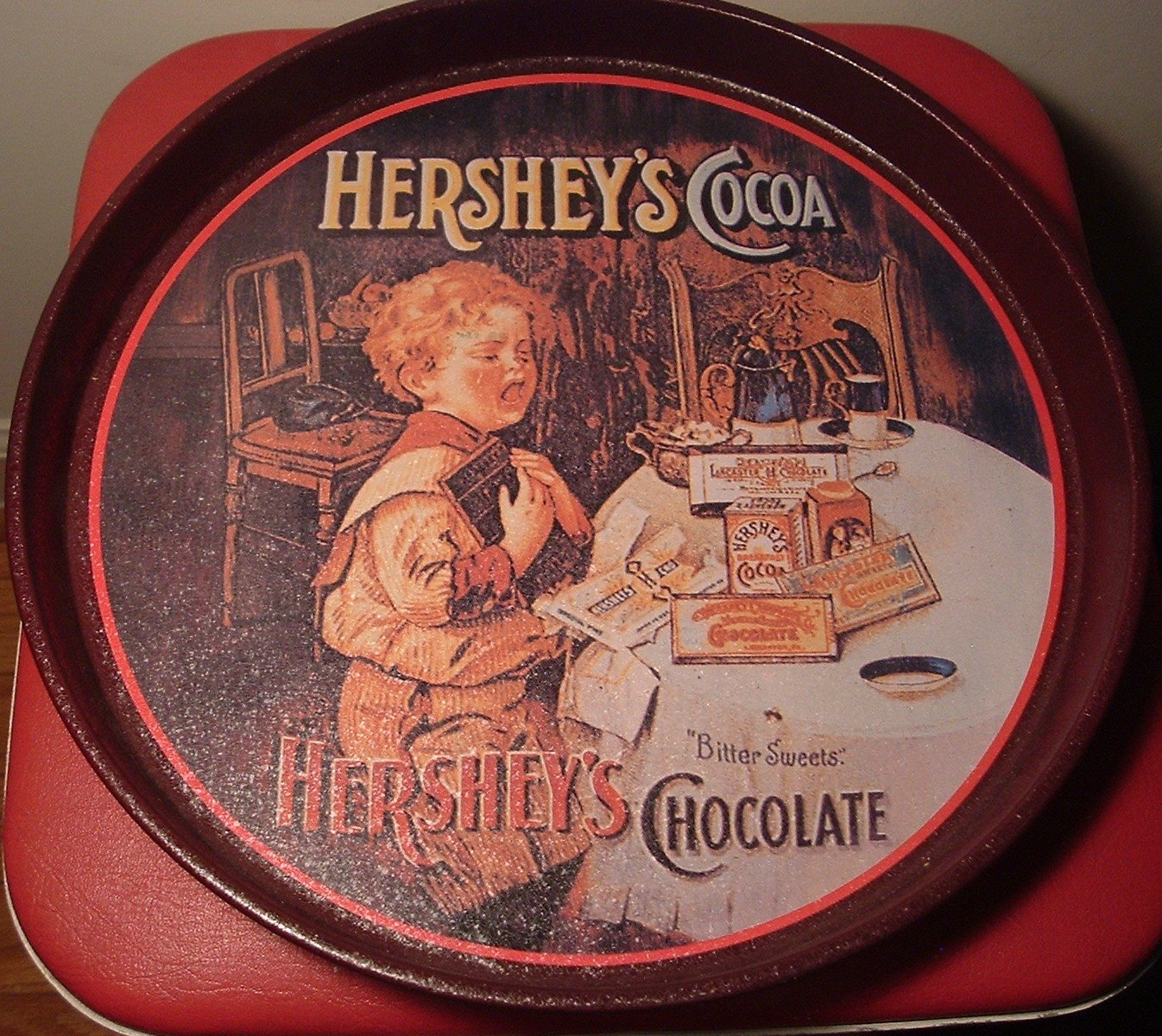 VINTAGE LOOK HERSHEY'S COCOA TIN TRAY BY BRISTOLWARE
