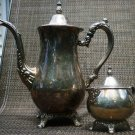 VINTAGE ORNATED SILVERPLATE ONEIDA TEA COFFEE POT & CREAMER SET