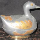 VINTAGE PEWTER ZINC DUCK TRINKET JEWELRY BOX GOLDEN LEAF DESIGN 555