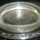 VINTAGE SILVERPLATE SERVING DISH WITH CRYSTAL LINING MEADOWBROOK WM.A.ROGERS